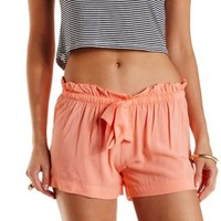 Apricot Drawstring Ruffle Shorts by Charlotte Russe