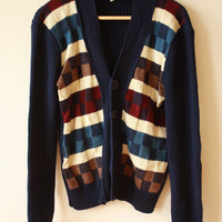 70s 80s Checked Navy Blue Ribbed Sweater Cardigan Unisex Mens Small