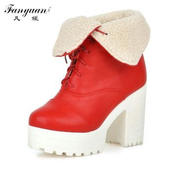 Retro Round Toe Woman Sexy Square High Heel Ankle Boots Sexy Casual Warm Fur Lace Up W