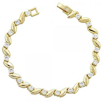 Gold Layered 5.026.016 Fancy Bracelet, Leaf Design, with White Cubic Zirconia, Polished Finish, Gold Tone