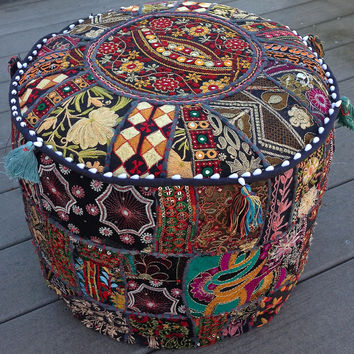 Patchwork Pouf Ottoman Black, White or Light Brown