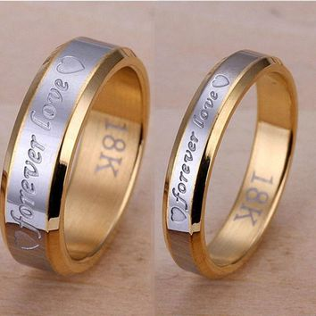 Classic Forever Love Ring Silver & 18K Gold Rings Set Wedding Engagement Band