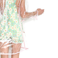 pink plastic p o p see through hooded raincoat . by napkinitems