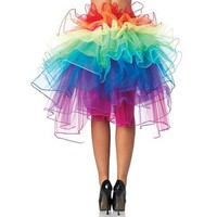 Leg Avenue Layered Organza Rainbow Bustle Skirt, Multicolor, One Size