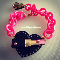 Heart Lipstick Bracelet or Necklace by didepux on Etsy