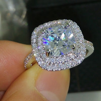 Size 5-10 Luxury Jewelry 925 sterlling silver filled full topaz CZ Gem women wedding simulated Diamond Wedding Engagement Ring gift
