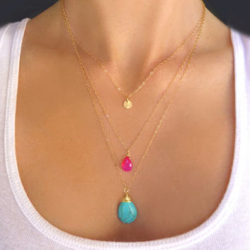 Turquoise & Hot Pink Triple Strand Necklace - Gold or Silver Multi Strand Turquoise Necklace - Long Three Layer Gemstone Disk Necklace