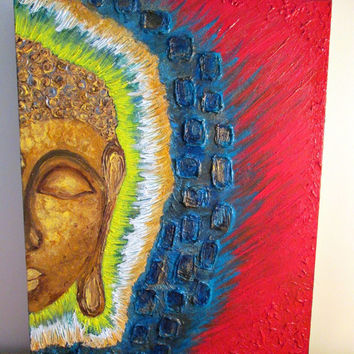 "Buddha painting ,Chakra painting,Spiritual Art, Motivational Art, ,heavy acrylic textured paintings, canvas impasto 18""x14"" inches"