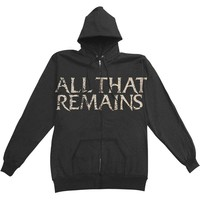 All That Remains Men's  Large Chest Logo Zippered Hooded Sweatshirt Black