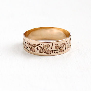 Antique Victorian 9k Rose Gold Leaf Ring - Size 5 Vintage Late 1800s Floral Wedding Cigar Band Fine Jewelry