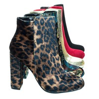 Living23 Leopard by Bamboo, Embossed & Embroidery Block Heel Ankle Bootie w Faux Fur Lining