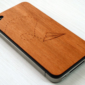 Paper Airplane Etching on Real Wood iPhone