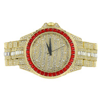 Red Princess Cut Watch Gold Finish Iced Out Men Joe Rodeo Look