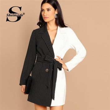796ac12d4f1e9 Sheinside Black and White Women Blazer Dress Office Ladies Two T