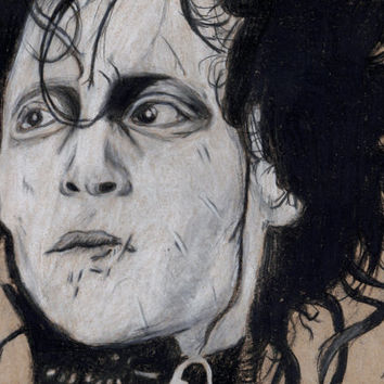 Edward Scissorhands Johnny Depp  8x10 Matted Art Print 5x7 Tim Burton Wall Decor Illustration