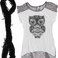 "Cookie's Kids > Beautees Big Girls' ""Armored Owl"" Top with Infinity Scarf (Sizes 7 – 16)"