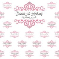 Custom Wedding Step And Repeat Backdrop (Multiple Sizes And Colors Available) - C062