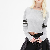 FOREVER 21 Varsity-Striped Cutoff Sweatshirt Grey/Black