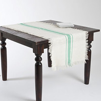 Striped Fringed Jute Table Runner (Sea Green)