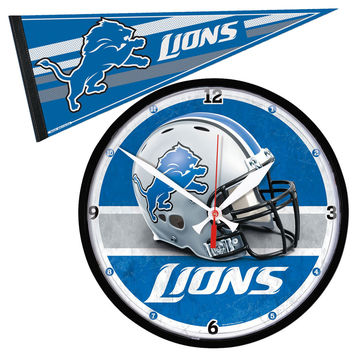 Detroit Lions NFL Round Wall Clock and Pennant Gift Set