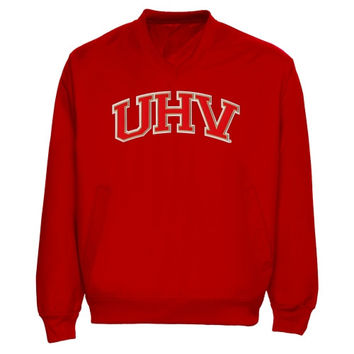 University of Houston-Victoria Jaguars Arch Name Pullover Windbreaker Jacket - Red