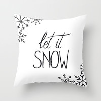 Black and white let it snow Throw Pillow by BlursbyaiShop