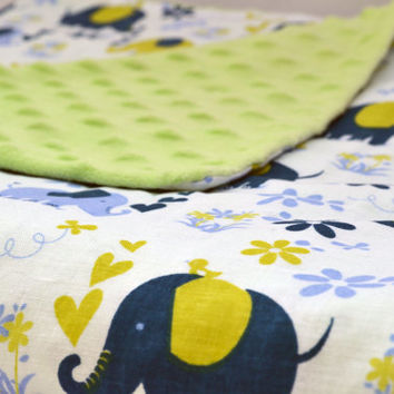 Green and blue elephant baby blanket, Quilted toddler blanket, travel blanket, baby blanket, quilt, Minky dot blanket
