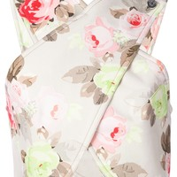 Carven Rose Print Cross-Over Blouse