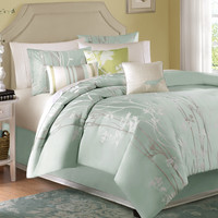 Queen Size 7 Piece Bed In A Bag Floral Sea Mist Comforter Set