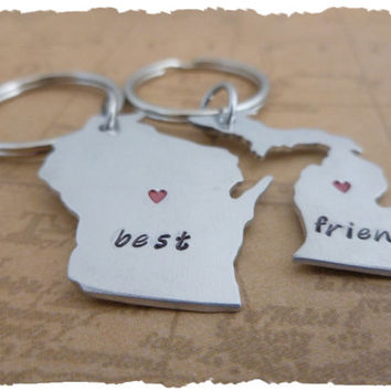 Best Friends Custom long distance friendship State Key Chains USA ldrship best friends bff gift for friend sisters brothers siblings