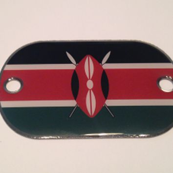Kenya Flag Stainless Steel 2 Hole Dog Tags- Paracord Bracelets Necklaces Pendants Key Fobs