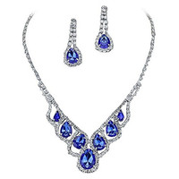 Purplebox Fashion Jewelry Royal Sapphire Blue Droplets Rhinestone Prom Necklace Set