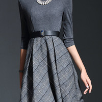 Grey Belted Plaid Spliced Skater Dress