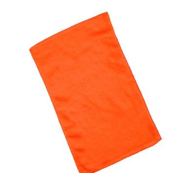 Velour Hemmed Hand-Golf Towel - Orange - CASE OF 144