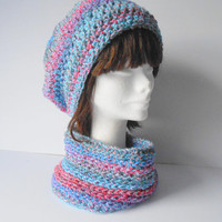 Clothing Gift. Hat and Scarf Set. Slouchy Beanie Hat. Cowl scarf. Handmade Gift. Gift for women. Winter Hat Sets. Ready to Ship. Blue Hat