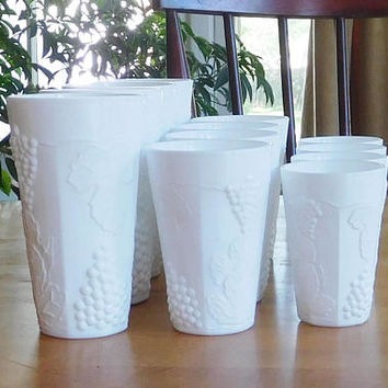 White Milk Glass Set 3 Glasses Large Medium Small 4 Sets Available Different Size Vases Wedding Holiday Decor for Beverages Flowers Candles