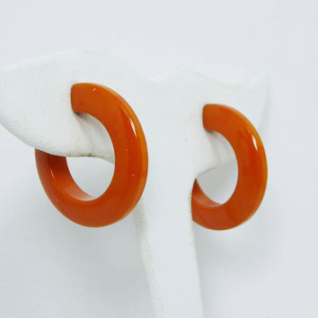 Pumpkin Orange Bakelite Earrings - Clip on Style Hoops - Vintage Mid Century 1960's Mod Jewelry
