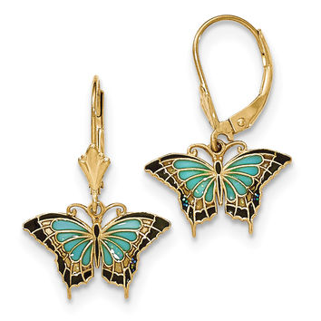 14K Gold Butterfly w/Aqua Stained Glass Acrylic Wings Hook Earrings TF759