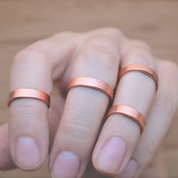 Smooth copper colored above knuckle ring, stackable ring, adjustable ring, ring band set, above knuckle ring band set, set of 4 rings