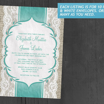 Aqua Vintage Linen Burlap & Lace Wedding Invitations | Invites | Invitation Cards