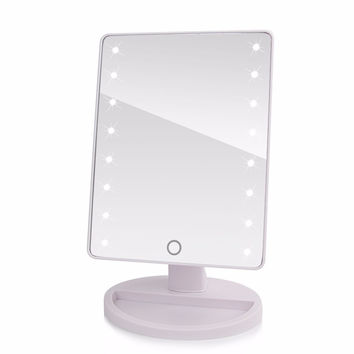 360 Degree Rotation Touch Screen Makeup Mirror Cosmetic Folding Portable Compact Pocket With LED Lights Makeup Tool