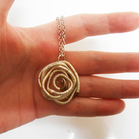 Once Upon A time Fairytale Sleeping Beauty Rose Wire wrapped necklace