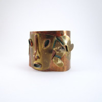 Vintage Casa Maya Cuff Bracelet, Mexican Hammered Copper and Brass Bracelet, Mid Century Abstract Bracelet, Aztec Tribal Bracelet, Wide Cuff