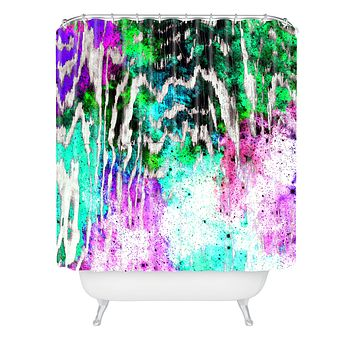 Caleb Troy Techno Zebra Stars 1 Shower Curtain