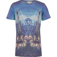 River Island Boys blue Paris mirror print t-shirt