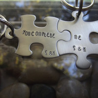 You Complete ME two piece puzzle keychain set, one for her and one for him