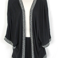Anthropologie Leifnotes S size Black Open Front Beaded Creamy Shirt Jacket
