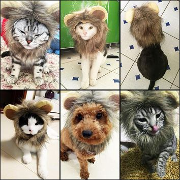 Pet Cat Dog Emulation Lion Hair Mane Ears Head Cap Autumn Winter Lion Mane Pet Cat Hat Lion Mane Wig Cute Pet Costume Cosplay