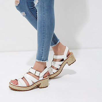 White croc embossed caged espadrille sandals - Sandals - Shoes & Boots - women