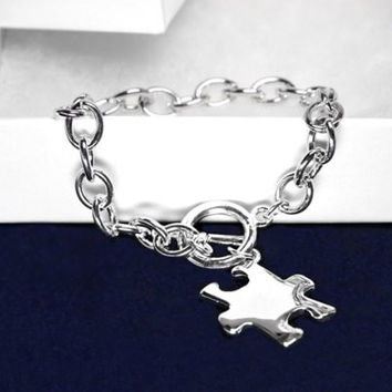 Autism and Aspergers Awareness Puzzle Bracelet-Chunky Silver Bracelet with Puzzle Charm